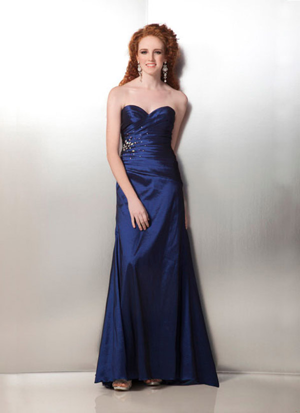 Navy Blue A Line Strapless Sweetheart Full Length Satin Formal Dresses