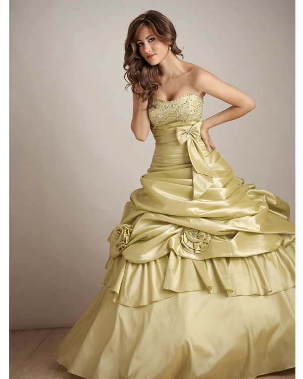 Lime Ball Gown Strapless Floor Length Quinceanera Dresses With Drapes And Flowers And Bowknot