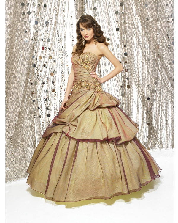 Glamorous Champagne Ball Gown Strapless Full Length Quinceanera Dresses With Appliques And Drapes