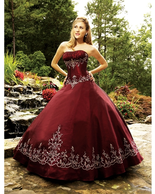 Ball Gown Strapless Floor Length Burgundy Quinceanera Dresses With White Embroidery