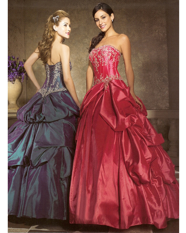 Full Length Ball Gown Strapless Dark Pink Dark Navy Quinceanera Dresses With White Embroidery