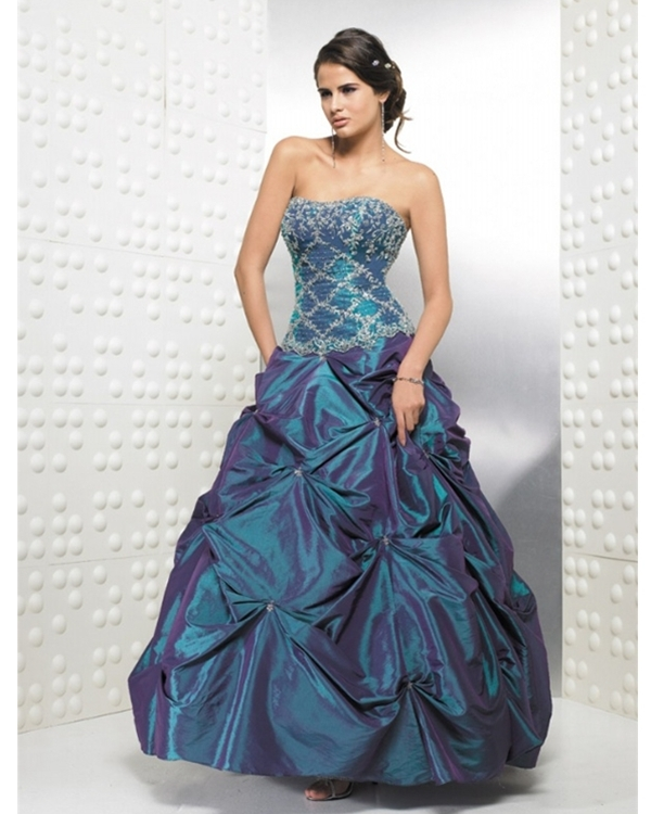 Dark Slate Blue Full Length Ball Gown Strapless Quinceanera Dresses With Embroidery And Twist Drapes