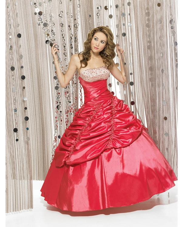 Full Length Ball Gown Strapless Watermelon Quinceanera Dresses With Beads And Pleats
