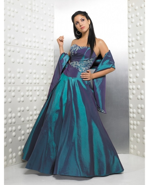 Graceful Blue Ball Gown Strapless Embroidered Full Length Quinceanera Dresses