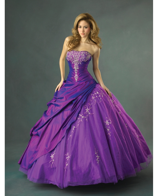 Strapless Purple Ball Gown Floor Length Quinceanera Dresses With White Appliques