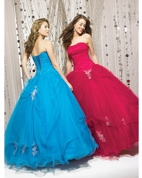 Gorgeous Blue Ball Gown Strapless Floor Length Tulle Quinceanera Dresses With White Appliques