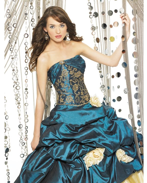 Teal Ball Gown Strapless Full Length Quinceanera Dresses With Ivory Hand Made Flowers