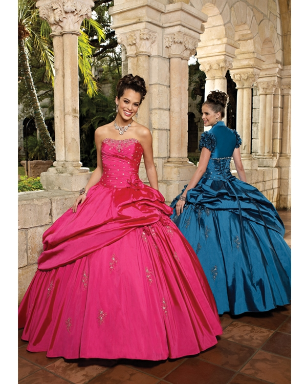 Pink Ball Gown Strapless Floor Length Taffeta Quinceanera Dresses With Sequins And Pleats