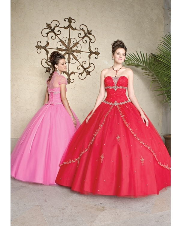 Red Ball Gown Strapless Full Length Tulle Quinceanera Dresses With Beading Embroidery