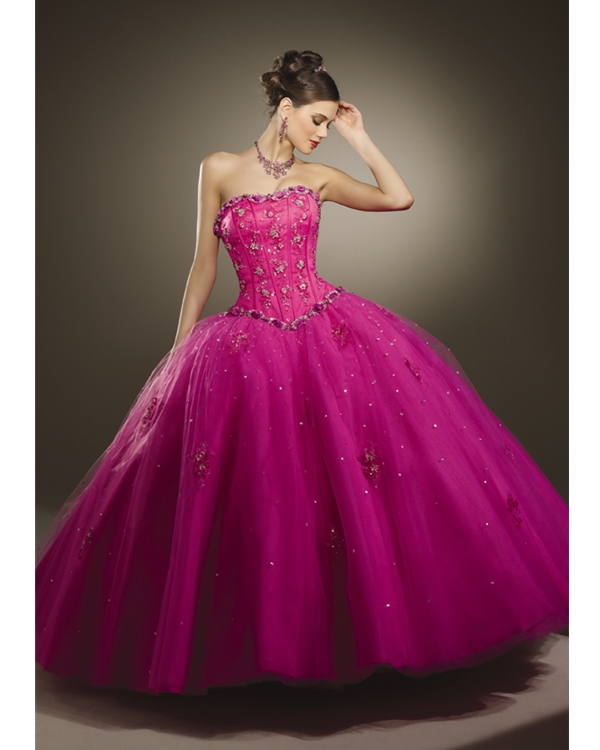 Pink Ball Gown Strapless Floor Length Tulle Quinceanera Dresses With Lace Appliques And Sequins