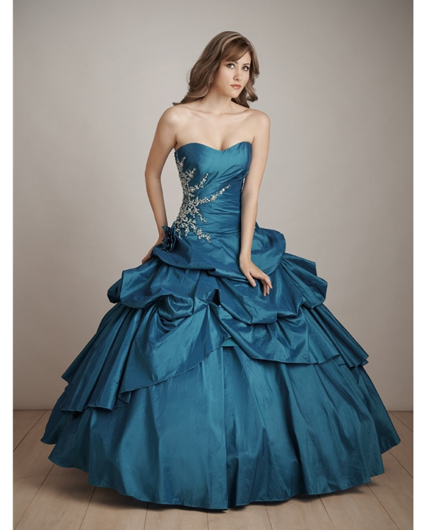 Floor Length Ball Gown Sweatheart Strapless Teal Taffeta Quinceanera Dresses With Embroidery