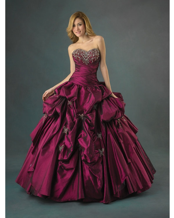 Mulberry Strapless And Sweetheart Ball Gown Full Length Quinceanera Dresses With Sequins