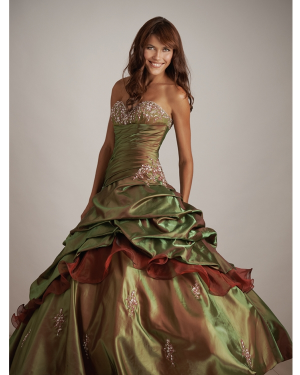 Olive Sweetheart Strapless Lace Up Ball Gown Floor Length Quinceanera Dresses With Appliques And Ruffles