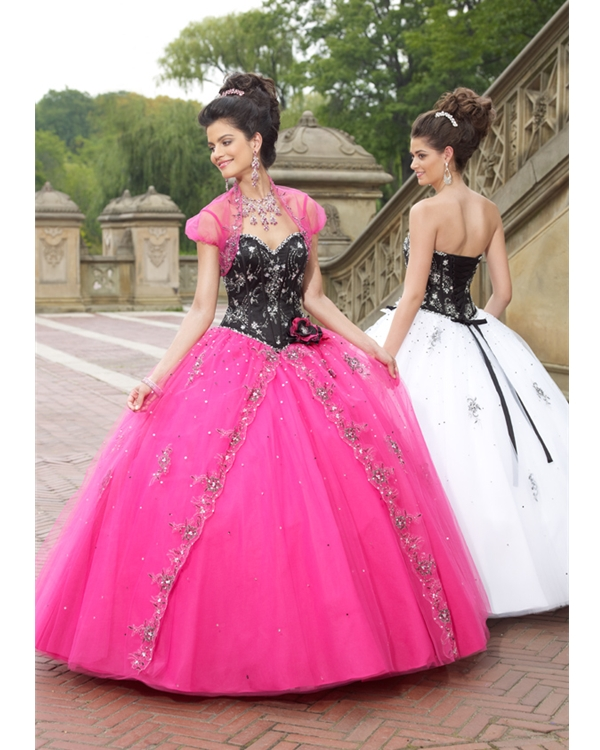 Black And Pink Ball Gown Sweetheart Floor Length Tulle Quinceanera Dresses With Appliques