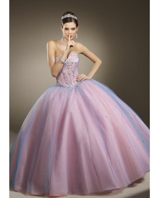 Pink And Turquoise Ball Gown Sweetheart Floor Length Tulle Quinceanera Dresses With Beads