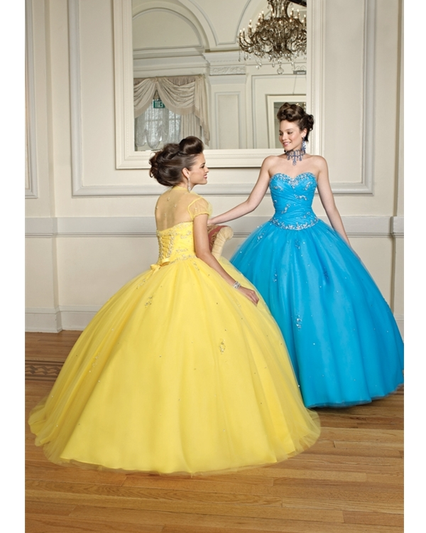 Yellow Ball Gown Sweetheart Strapless Lace Up Floor Length Tulle Quinceanera Dresses With Sequins