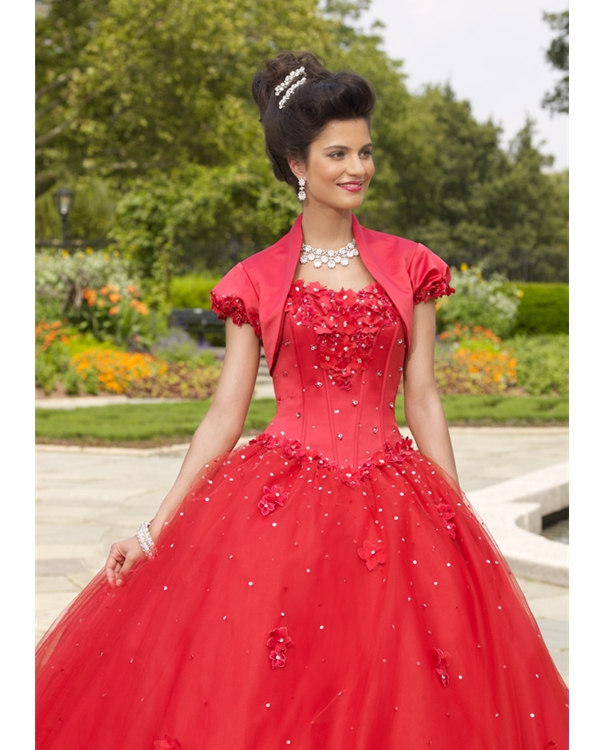 Red Strapless Ball Gown Floor Length Tulle Quinceanera Dresses With Hand Made Flowers And Sequins