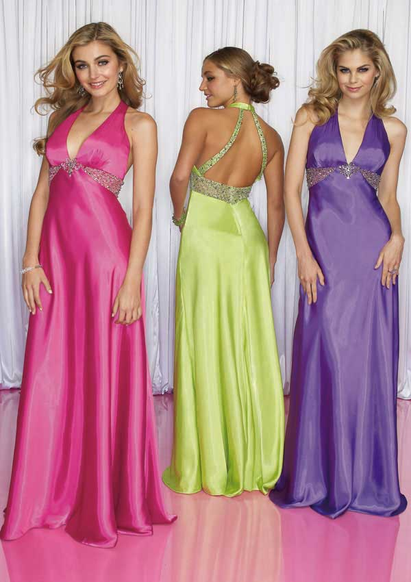 Fuchsia Halter And V Neck Open Back Floor Length Sheath Prom Dresses With Beads