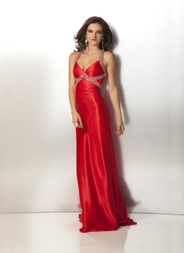 Red Halter Neck Open Back Floor Length Sheath Prom Dresses With Beads