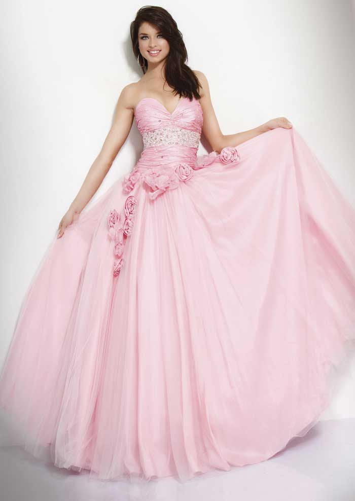 Baby Pink Strapless Sweetheart Floor Length A Line Prom Dresses With Beading And Rosettes