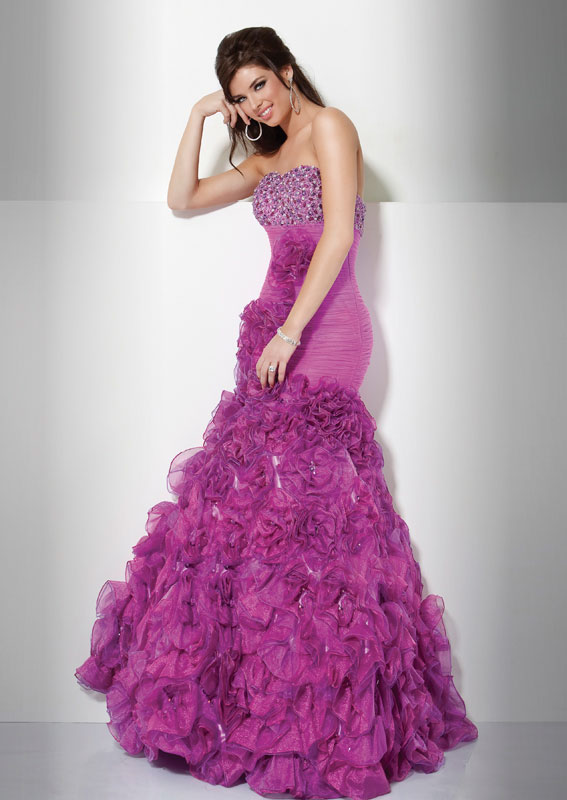Fuchsia Mermaid Strapless Full Length Pleated Organza Evening Dresses