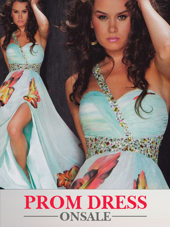Aqua One Shoulder High Slit Full Length A Line Prom Dresses With Sash And Butterfly Printing