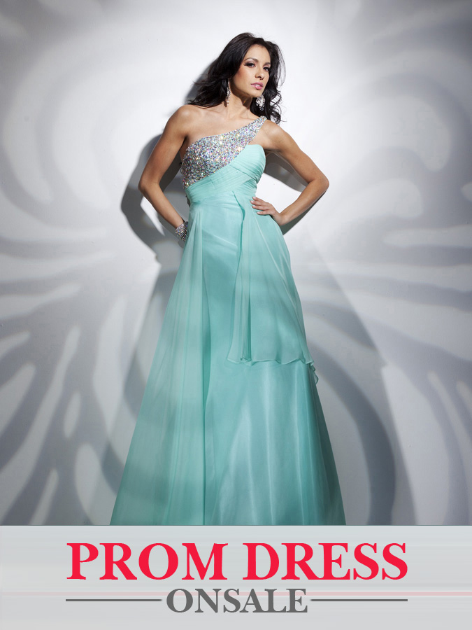 Light Sky Blue One Shoulder Floor Length A Line Prom Dresses With Sequins