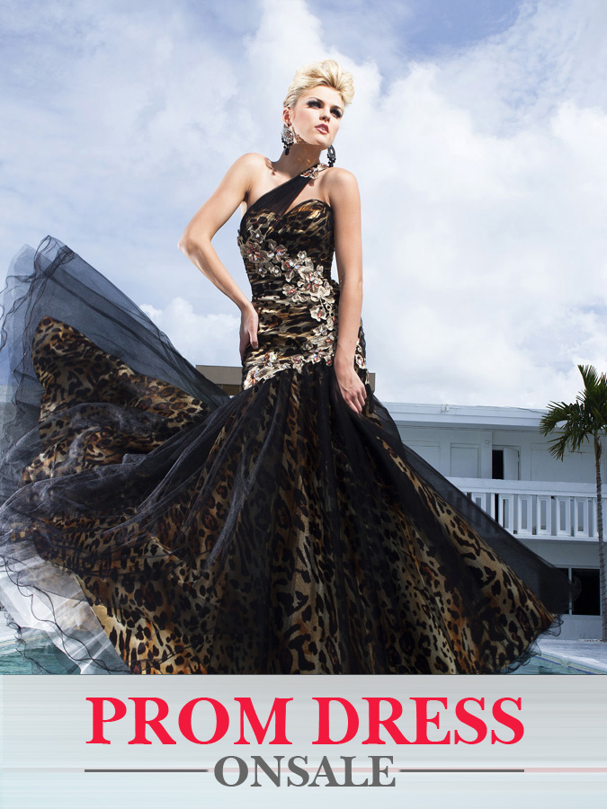 Black One Shoulder Floor Length Mermaid Prom Dresses With Appliques And Tiger Print Lining