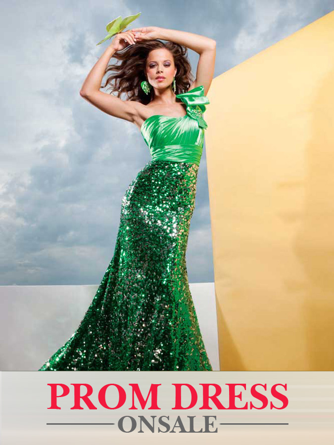 Green Mermaid One Shoulder Full Length Sequined Evening Dresses With Bowknot