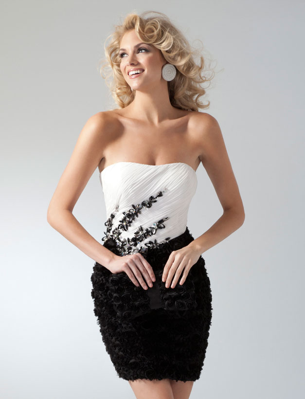 White And Black Strapless Mini Length Chiffon Cocktail Dresses With Ruffles