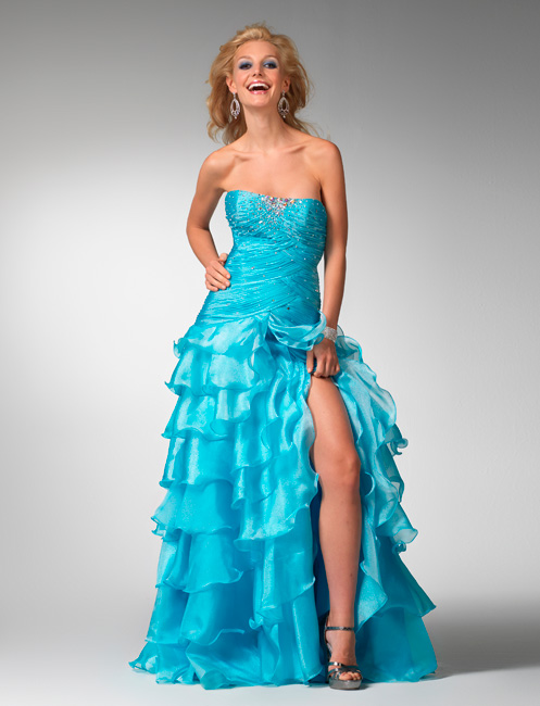 Turquoise Strapless Full Length A Line Organza Tiered Prom Dresses With Crystals