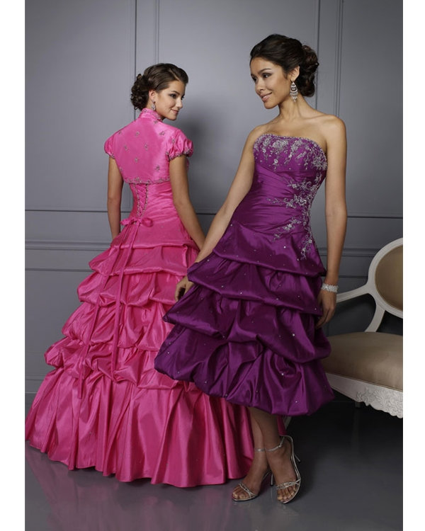 Pink Strapless Lace Up Floor Length Ball Gown Taffeta Quinceanera Dresses With Embroidery