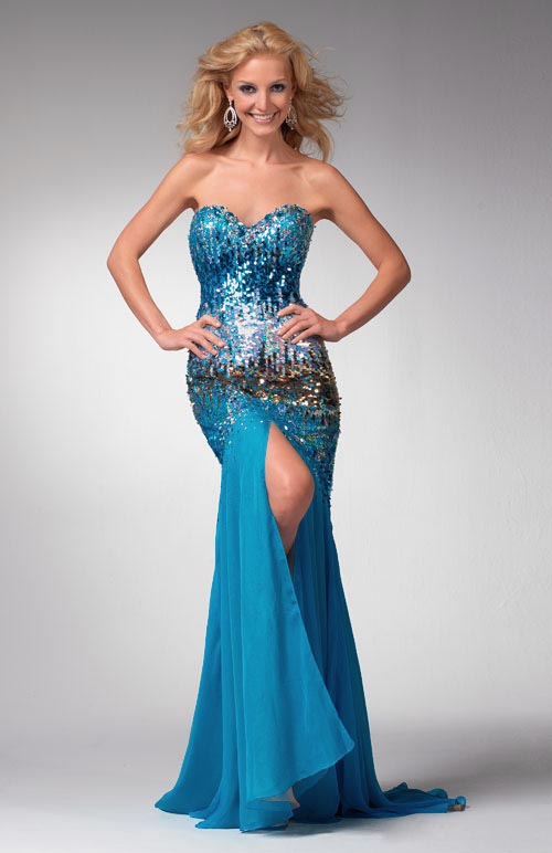 Blue Strapless Sweetheart High Slit Brush Train Floor Length Chiffon Prom Dresses With Sequins