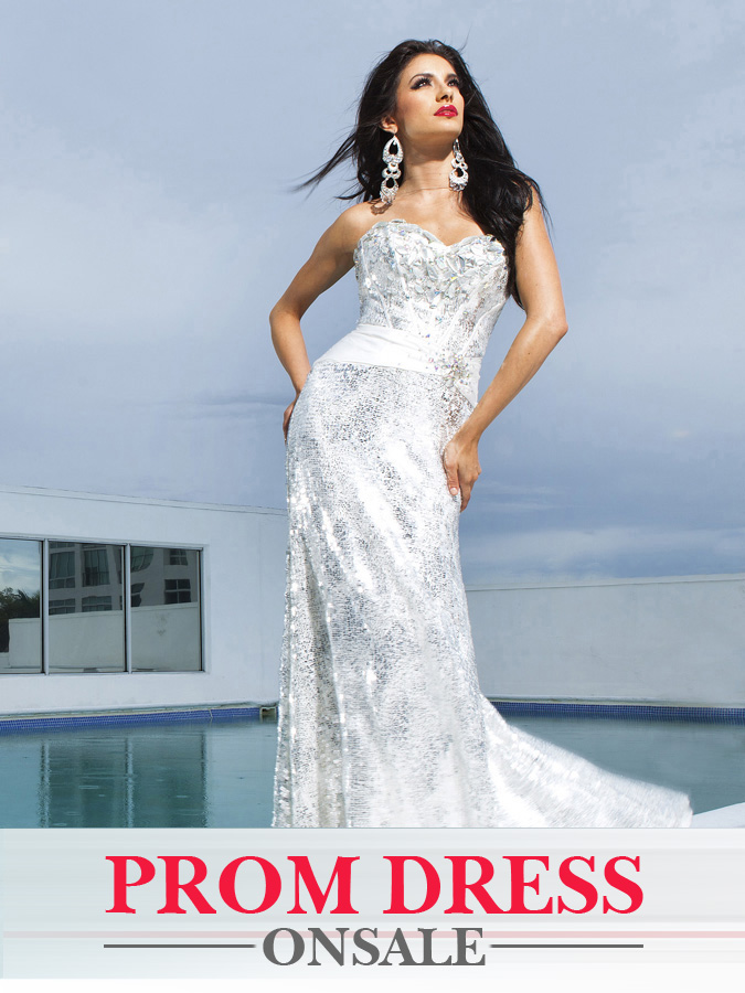 White Strapaless Sweetheart Sheath Floor Length Sequined Prom Dresses