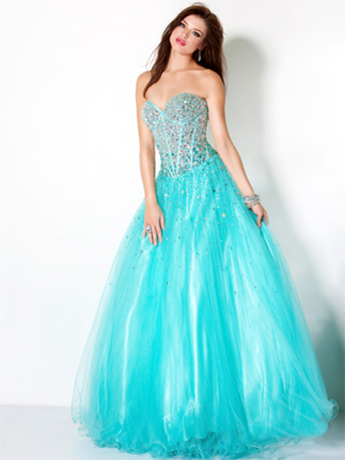 Airy Turquoise Strapless Sweetheart Floor Length A Line Tulle Prom Dresses With Sequins