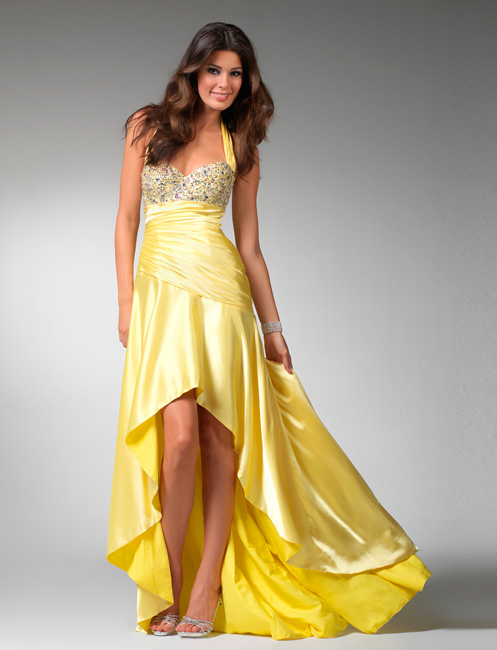 Hot Sale Yellow Halter And Sweetheart Hi Low A Line Prom Dresses With Jewel