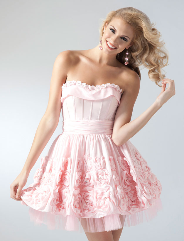 Pink Sweetheart Neckline Knee Length Homecoming Dresses With Rosettes
