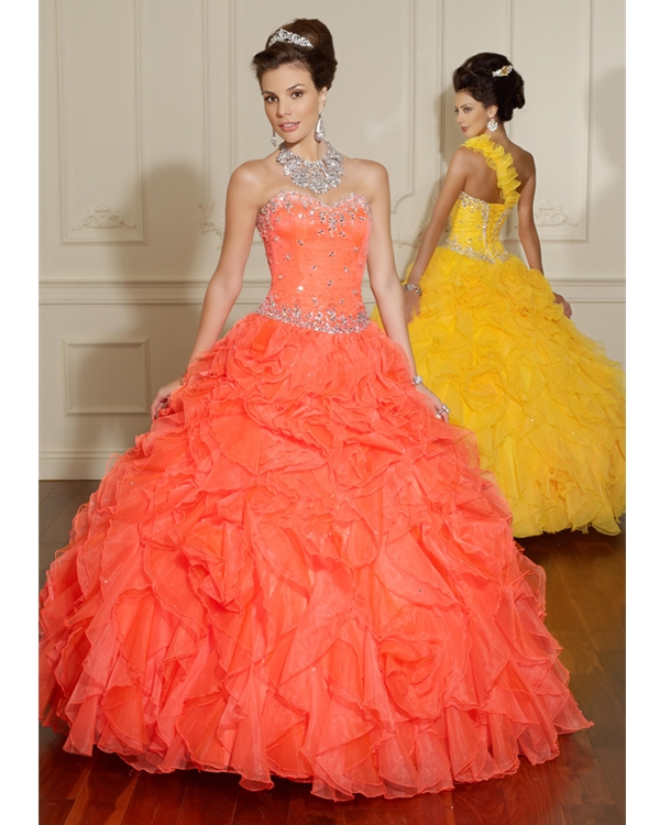 Orange Ball Gown Sweetheart Ruffled Floor Length Ball Gown Organza Quinceanera Dresses With Beadings