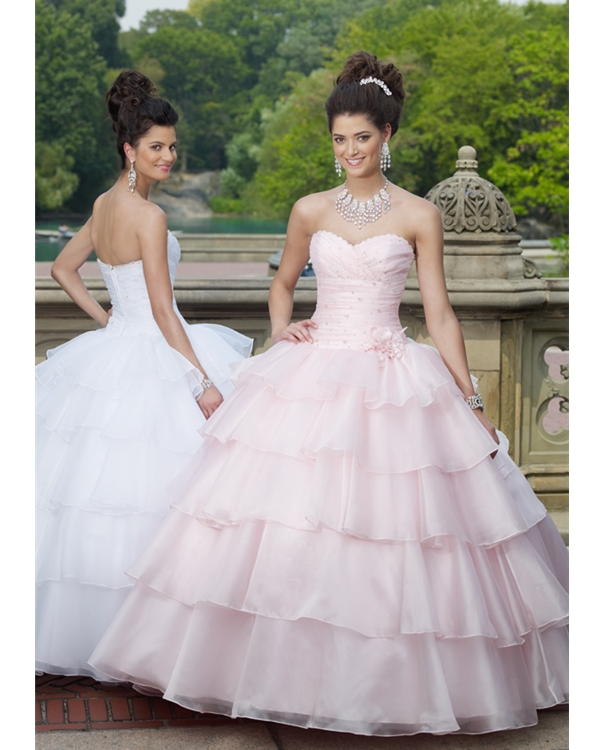 Strapless Sweetheart Floor Length Tiered Organza Quinceanera Dresses With Ruffles And Beads