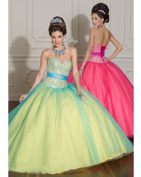 Daffodil Strapless Sweetheart Ball Gwon Organza Quinceanera Dresses With Beadings And Turquoise Sash