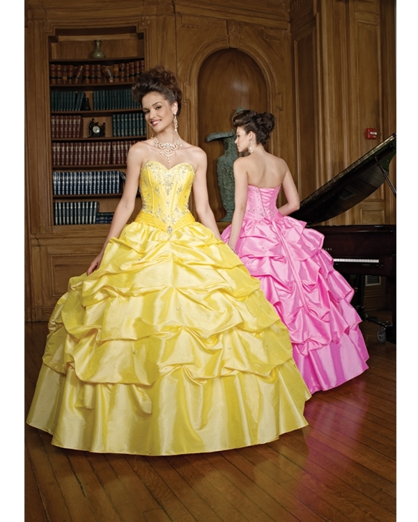 Green Sweetheart Strapless Ruffled Ball Gown Floor Length Taffeta Quinceanera Dresses With Beadings