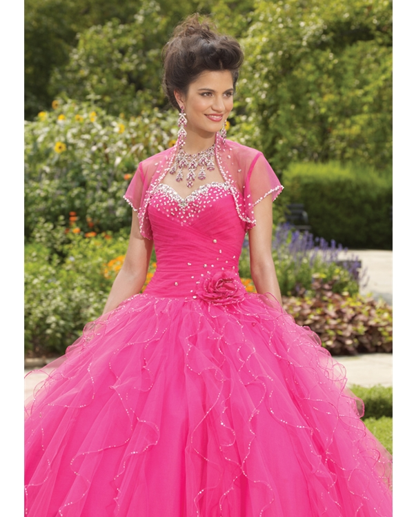 Pink Ball Gown Sweetheart Ruffled Floor Length Tulle Quinceanera Dresses With Beadings And Flowers