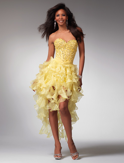 Prosperous Yellow Strapless Sweetheart Mini Length Organza Prom Dresses With Beads And Ruffles