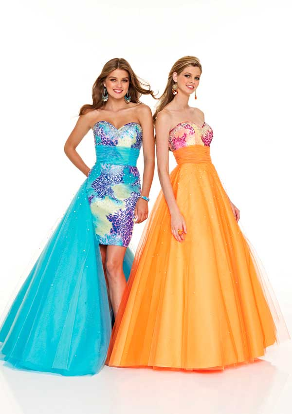 Colorful Printed Strapless Sweetheart Floor Length A Line Tulle Prom Dresses With Sequins