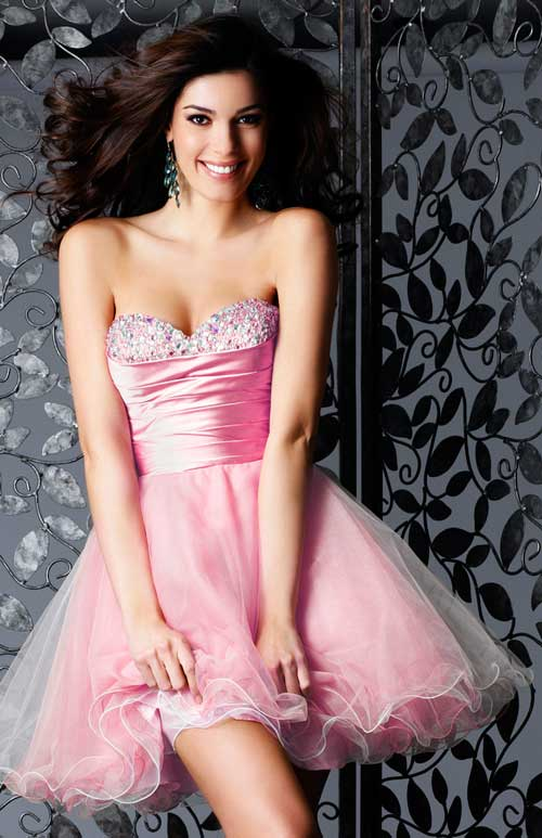 Pink Strapless Sweetheart Mini Skirt Organza Formal Dresses