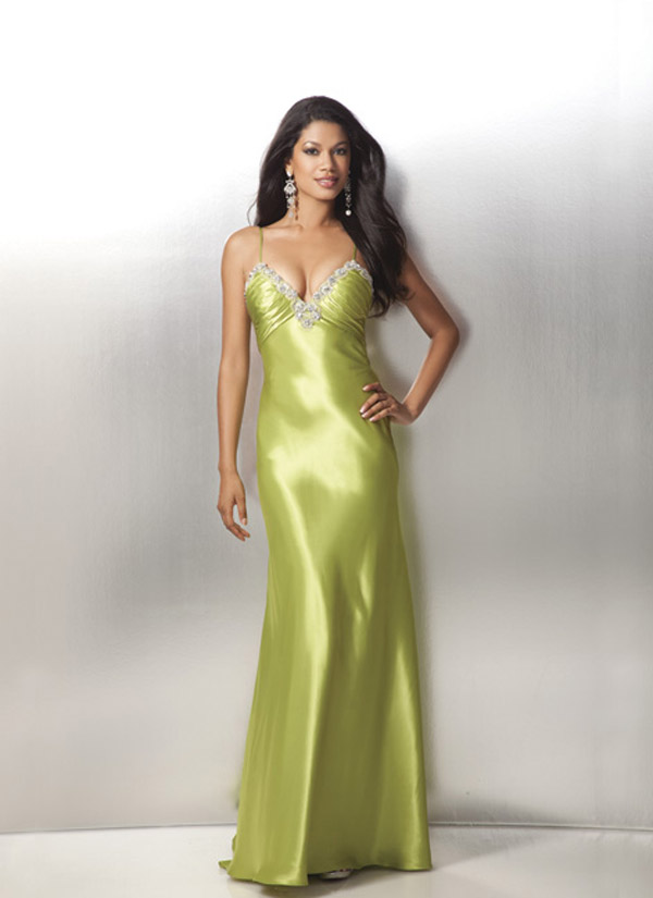 Kelly Sweetheart Neckline Spaghetti Straps Floor Length Satin Formal Dresses