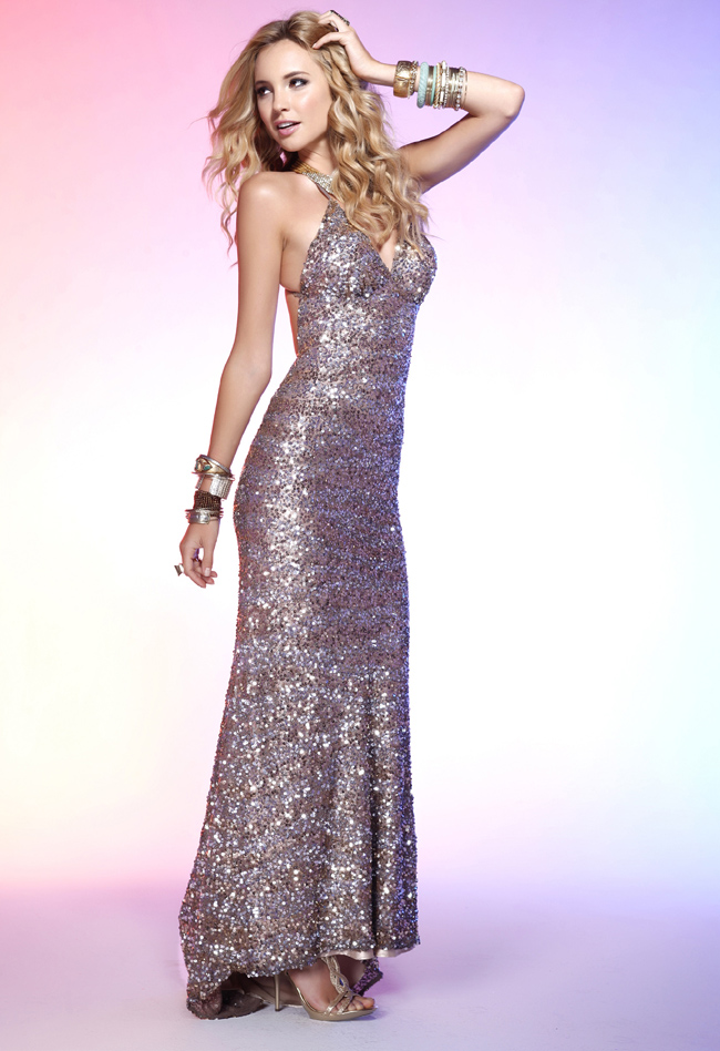 Deep V Neck Sweep Train Ankle Length Sexy Silver Sequined Column Prom Dresses