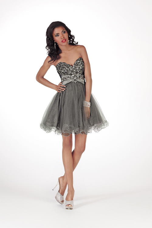 Grey A Line Mini Length Sweetheart Strapless Empire Tulle Sexy Dresses With Sequins
