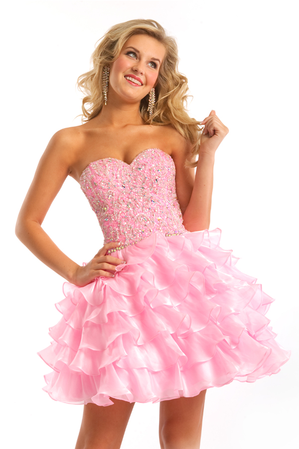 Pink Strapless Sweetheart A Line Mini Sexy Dresses With Embroidery And Tiered Ruffled Skirt