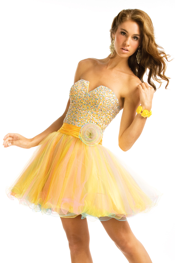 Yellow Sweetheart Low Back A Line Mini Length Sexy Dresses With Multi Colored Sequins